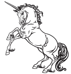 unicorn black white vector image vector image