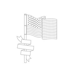 United states flag with ribbon in pole monochrome vector