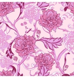 Vintage pink seamless pattern with peony and twigs vector image vector image