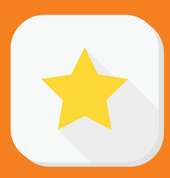 Yellow star icon with long shadow modern simple vector