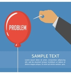 Pricking red balloon with needle vector