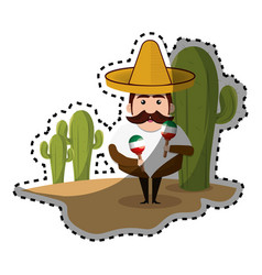 Sticker background cactus with man mexican and vector