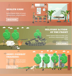 Set of military horizontal banners in flat vector