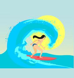 The surfing girl  the brunette vector