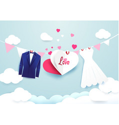 White dress and blue suit with heart sign hanging vector