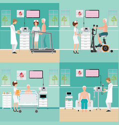 Ecg test or exercise stress test for heart disease vector