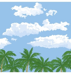 Palm trees and sky with clouds vector