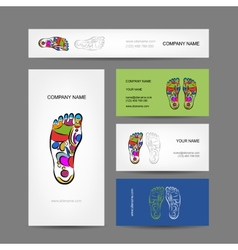 Business cards design foot massage reflexology vector