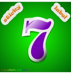 Number seven icon sign symbol chic colored sticky vector