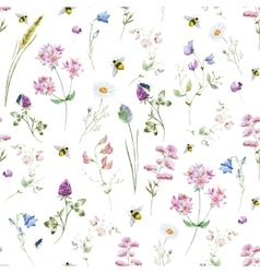 Watercolor wildflower pattern vector