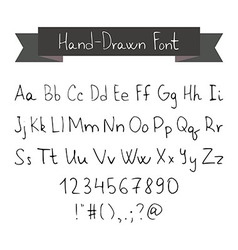 Thin ink black pen hand drawn font vector