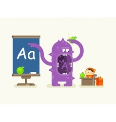 Cartoon monster teaches alphabet vector