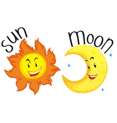 Sun and moon with happy face vector