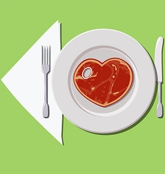 Steak on the plate vector