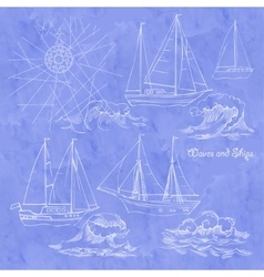Waves and ships set of sketches vector