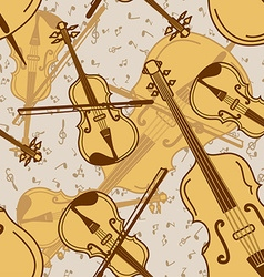 Seamless pattern of contrabass and violin vector