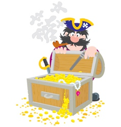 Pirate and treasure chest vector