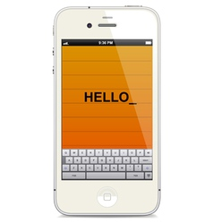 Smartphone with touch keyboard vector