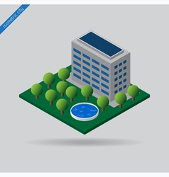 Isometric city - trees swimming pool and building vector