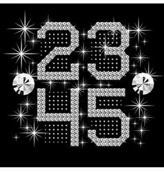 digital diamond alphabet vector image