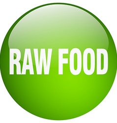 Raw food green round gel isolated push button vector