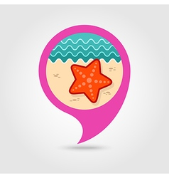 Starfish pin map icon summer vacation vector