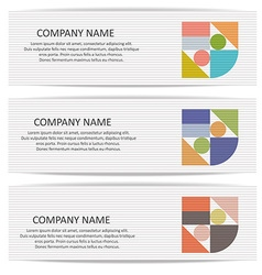 Set of banners with abstract geometric colored vector
