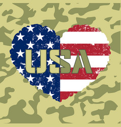 American flag heart military vector