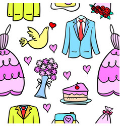 Art of wedding element doodle style vector