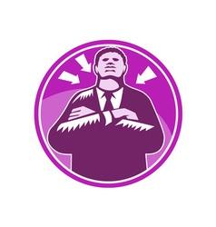 Black businessman bouncer arms folded woodcut vector