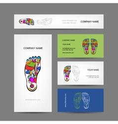 Business cards design foot massage reflexology vector