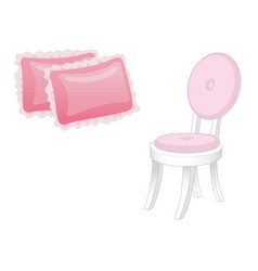 Chair and two pillows elegant furniture vector