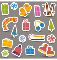 Christmas and winter icons vector image vector image