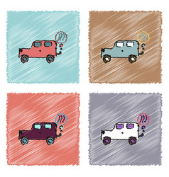 Collection of flat shading style icons car and vector