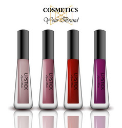 colorful realistick lipgloss package in gold vector image vector image