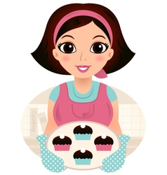Cute woman cooking cookies isolated on white vector image vector image