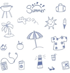 Doodle Summer and travel holiday vector image