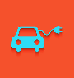 Eco electric car sign whitish icon on vector