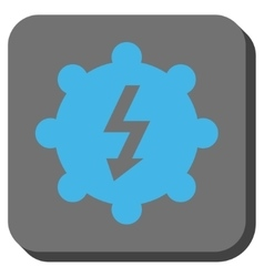 Electricity cog wheel rounded square button vector