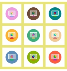 Flat icons set of business pie chart on monitor vector