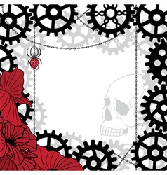 frame with skull gears spider and chains vector image vector image
