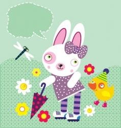 happy rabbit vector image vector image
