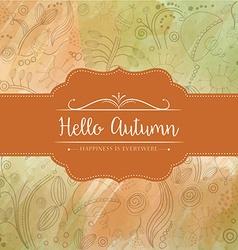 Hello autumn watercolor background vector