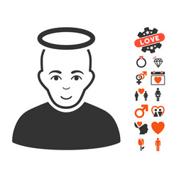 Holy man icon with valentine bonus vector