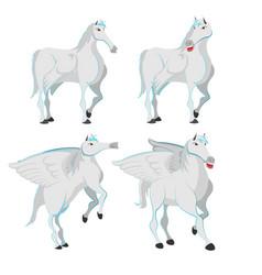 Horse white pegasus character set vector