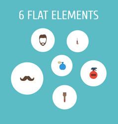 Icons flat style beard curling iron hairspray vector