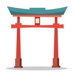japanese red gate traditional oriental landmark vector image vector image