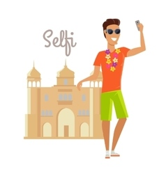 Man selfie on summer vacation in india vector