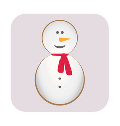 merry christmas candy cane snowman carrot nose vector image
