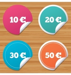Money in euro icons ten twenty fifty eur vector
